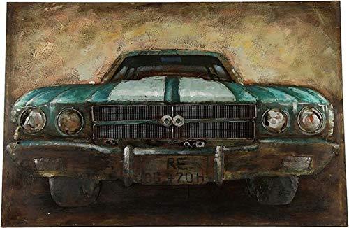 Countryfield - Dipinto in legno d'epoca, 120 x 80 cm, colore: Marrone/Blu