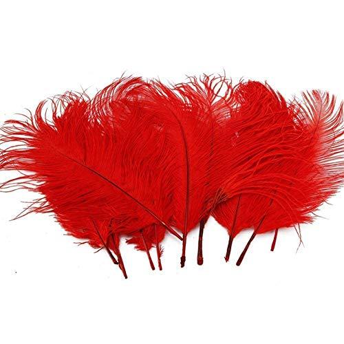 YIY 15-20cm natuurlijke gekleurde struisvogel veren kleding accessoires bruiloft partij rekwisieten pak van 100 Ostrich Feathers Wijn Rood