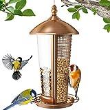 Sahara Sailor Mangiatoia per Uccelli, Mangiatoia per Uccelli Selvatici 2 in 1 per Esterno, Mangiatoia per Uccelli in Metallo - Finitura in Rame Antico - Mangiatoia per Semi da Casa da 2,5 libbre