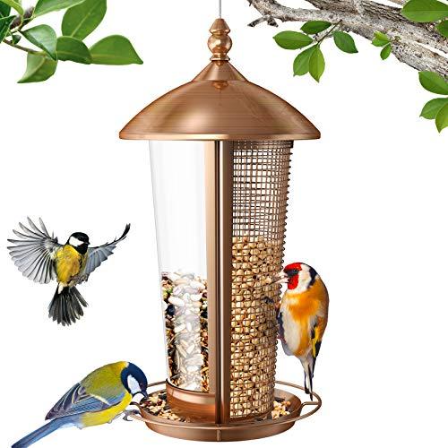 Sahara Sailor Vogelfutterspender,2 in 1 Wildvogel Futterspender für draußen,1,1 kg Hängendes Haus Metall Vogel Futterstation,Antikes Kupfer Finish,für Garten,Balkon,Draussen