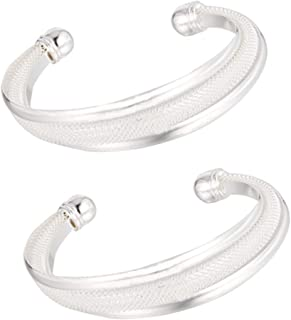 Moguer 2 Pcs Women Bracelet Lady Open Cuff Bangle Stainless Steel Wristband, Silver Open Cuff Bangle Bracelet for Men Women