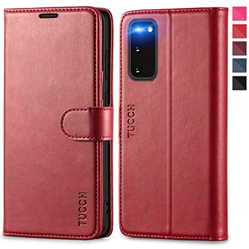 TUCCH Galaxy S20 Hülle, TPU Schutzhülle, Lifetime Garantie, Stoßfeste Handyhülle mit [RFID Schutz] [Aufstellfunktion] [Kartenfach] [Magnet] Handytasche Etui Kompatibel für Samsung Galaxy S20 6,2 Rot
