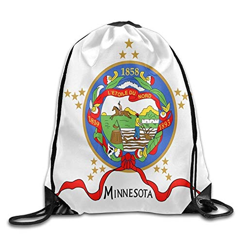 Etryrt Mochilas/Bolsas de Gimnasia,Bolsas de Cuerdas, Flag of Minnesota Cool Gym Drawstring Bags Travel Backpack Tote School Rucksack
