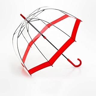 GHMOZ Household Umbrellas Transparent Bird Cage Umbrellas Vintage Long Handle Umbrellas Stainless Steel Umbrellas Available in A Variety of Colors (Color : Red)
