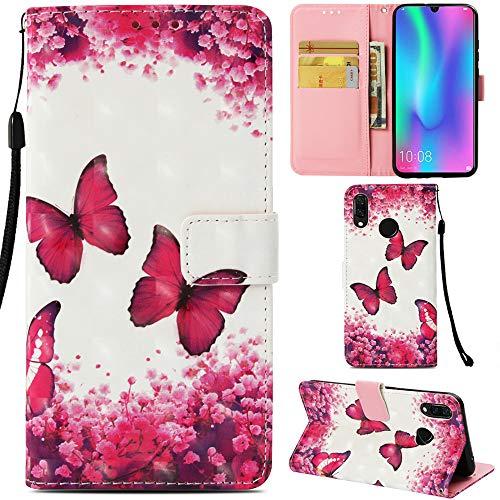 DodoBuy Huawei Y6 2019/Honor 8A Hülle 3D Flip PU Leder Schutzhülle Stand Handy Tasche Brieftasche Wallet Case Cover für Huawei Y6 2019/Honor 8A - Schmetterling Rose
