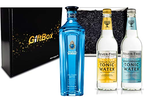 Gin Tonic Set Giftbox Geschenkset - Star of Bombay Slow Distilled London Dry Gin 0,7l (47,5% Vol) + 2x Fever Tree Tonic Water Mix je 500ml -[Enthält Sulfite] - Inkl. Pfand MEHRWEG