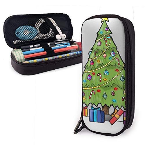 Pu Leder Federmäppchen Weihnachtsbaum Pu Leder Federmäppchen, große Kapazität Stifttasche,Dauerhafte Studenten Schreibwaren Veranstalter