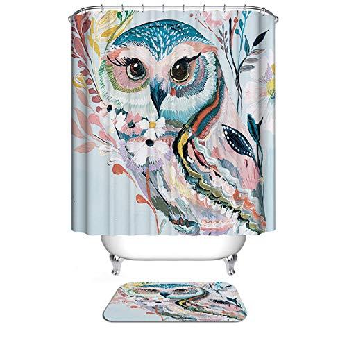 Dodou Animals Digital Printing Animal Shower Curtain Art Bathroom Decor Cute owl Design Polyester Waterproof Fabric Bathroom Accessories with Hooks(72''Wx72''H )