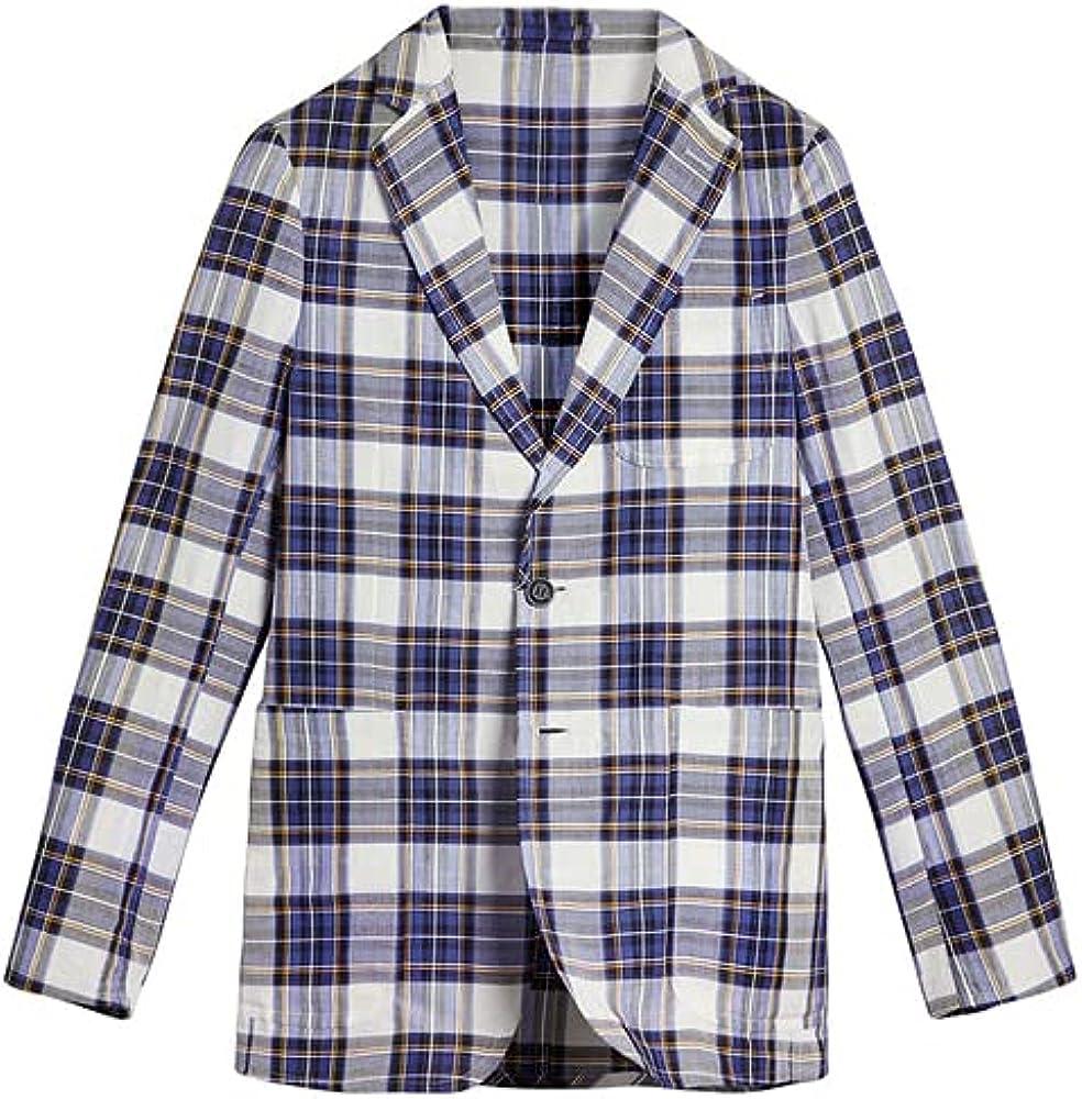 BURBERRY White Soho Fit Linen Check Blazer, Brand Size 52R (US Size 42R)