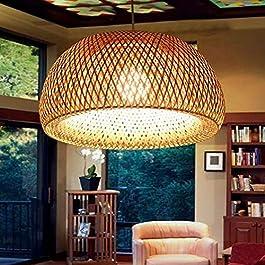 Lustre Suspension Country Style Rétro Lampe Suspendue En Rotin Tissé À La Main En Bambou Abat Salon Chambre Hauteur…