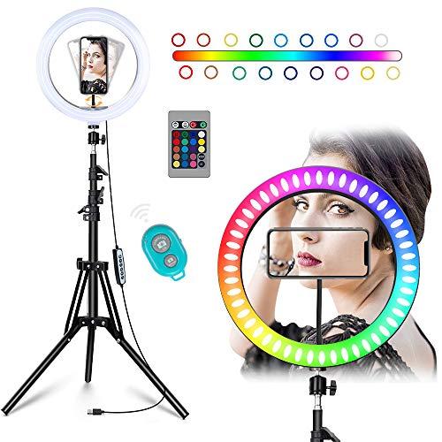 Anillo de luz para selfie de 10'', ajustable, Ringlight de Belleza con trípode y soporte para teléfono para transmisión en vivo y maquillaje compatible con iOS y Android