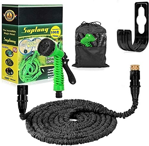 Suplong Garden Hose Expandable Water Pipe 3 Times Expanding 100ft Flexible Magic Hose Pipes Reel...