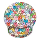 Britimes Ergonomic Mouse Pad with Wrist Support Colorful Cats Non-Slip Rubber Base Mousepad for Home Office Gaming Working Computers Laptop Easy Typing & Pain Relief