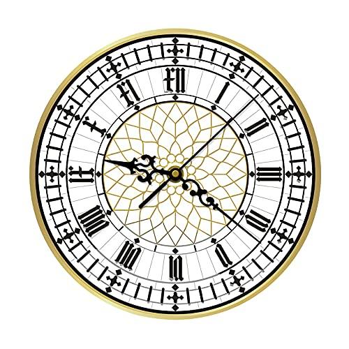 BTOPER Reloj de Pared Elegante, Relojes de Pared Vintage Reloj de Pared Grande para Interior / jardín Reloj de Pared de Cuarzo de 30 cm silencioso, sin tictac, con números Romanos