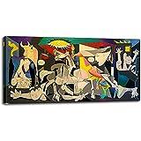 Guernica de Picasso Famosas reproducciones de pinturas al óleo - Lienzo Arte de la pared Carteles Impresiones enmarcadas Imágenes de Picasso Decoración de la habitación 70x140cm (28x55in) Con marco