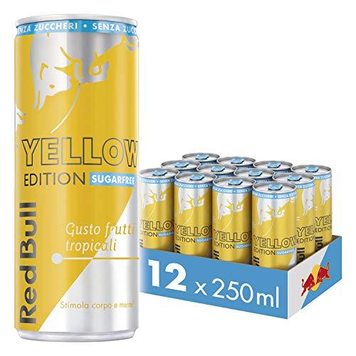 Red Bull Energy Drink Senza Zuccheri Gusto Frutti Tropicali, 12 lattine da 250 ml