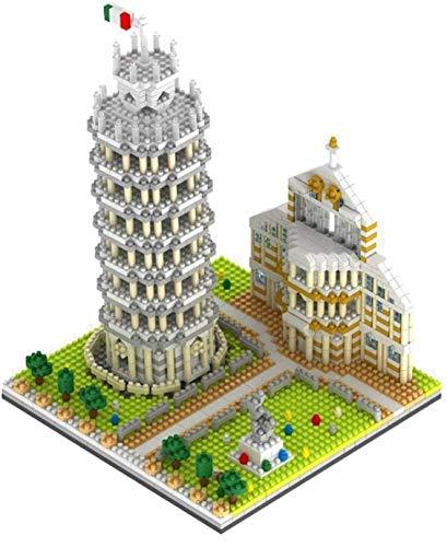 YZHM Arquitectura mundialmente Famosa Torre Inclinada de Pisa 3D Modelo Mini Diamond Building Nano Ladrillos Bloques Juguetes para niños