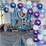 Luvier Snowflake Purple And Blue Latex Balloon Garland Arch Kit With Strip/102pcs Large to Small Party Balloons For Frozen/Ice Princess Party Decoration (Purple-Blue)