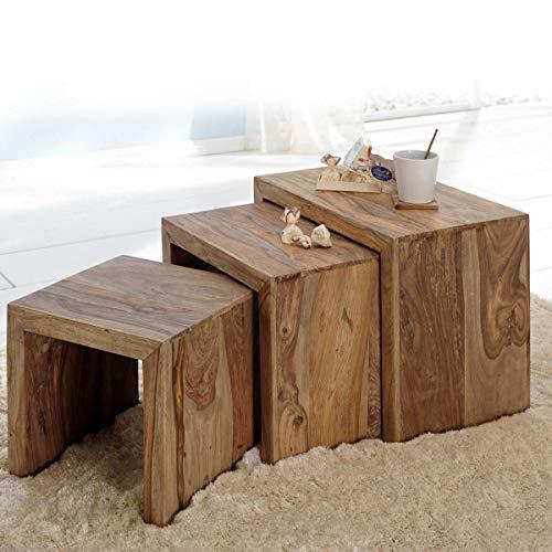 Möbel Akut 3 Satz Tisch Set Beistelltisch Yoga Couchtisch Holz Sheesham massiv Natur 55x35 cm