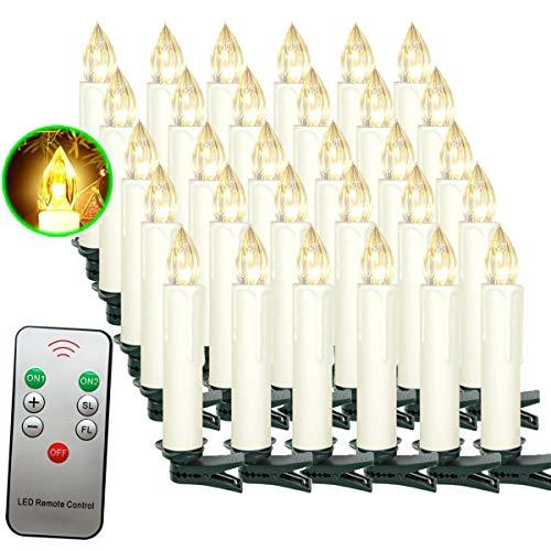 Aufun LED Kerzen 30 Stück Weihnachtskerzen mit Fernbedienung Warmweiß LED Kerzen Outdoor Weinachten LED für Weihnachtsbaum, Weihnachtsdeko, Hochzeitsdeko, Party, Feiertag