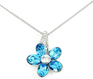 Swarovski Elements Women's Flower Crystal Stone Pendant Design Necklace [SWR-040]