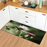 OPLJ Alfombra en el cuarto de baño para el hogar, sala de estar, cocina, plantas, flores, para entrada, dormitorio, decoración de suelo, A6, 40 x 120 cm