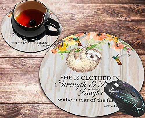 Round Mouse Pad and Coasters Set, Proverbs 31:25 Christian Quotes Bible Verse Mousepad, Anti Slip Rubber Round Mousepads Desktop Notebook Mouse Mat for Working and Gaming