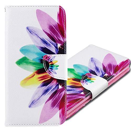 MRSTER Nokia 5.3 Hülle Leder, Langlebig Leichtes Klassisches Design Flip Wallet Case PU-Leder Schutzhülle Brieftasche Handyhülle für Nokia 5.3. BF Sunflower