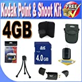 Kodak Point & Shoot Accessory Saver Bundle (4GB SDHC Memory + USB Card Reader + Deluxe Camera Case w/Strap + LCD Screen Protectors + Mini Tripod + Accessory Saver Bundle)