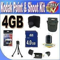 Kodak Point & Shootアクセサリーセーバーバンドル。(4gb SDHCメモリ+ USBカードリーダー+メモリカード財布+デラックスカメラケースW/ストラップ+ LCDスクリーンプロテクター+ミニ三脚+アクセサリセーバーバンドル