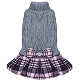 kyeese Dog Sweater Dress with Bowtie Checkered Turtleneck Dog Sweaters for Small Dogs Warm Pet Sweater