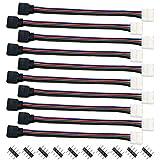 Liwinting 14ピン10mm LEDテープコネクタ、 長さ16.5cm SMD 5050 RGB 10個の4ピンコネクタ付き(10個/パック)