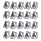 OCR 20Pcs Corner Bracket Right Angle, L Brackets Connector, 2020 Series 2 Hole Aluminum Brackets for Aluminum Extrusion Profile with Slot 6mm, 20x20