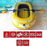 Ote inflable para 2 personas, kayak plegable resistente al desgaste de goma espesada con inflador de vehículo, bote de pesca, adecuado para aventura acuática, pesca, vacaciones familiares,set of boat