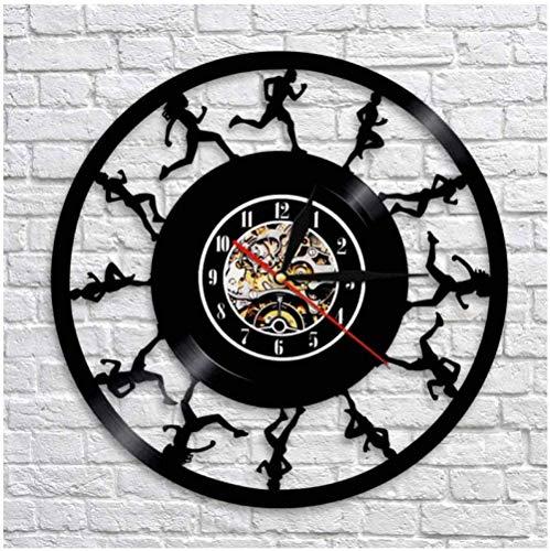 Creative Run Music Disco de Vinilo Reloj de Pared Arte Decoración de la habitación del hogar Juego de Regalo para músicos Idea para Amantes de la música Reloj LP de 12 Pulgadas Negro