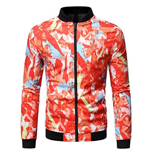 Outwear Men Jacket Men Zipper Victorian Style Comfortable Leisure Trendy Men Tops Autumn New Long Sleeve Windproof Transition Coat Casual Jacket Fashion Men's Clothing D-Red L