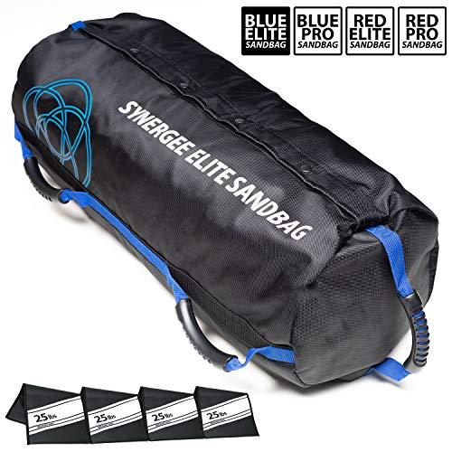 Synergee Elite Buff Blue Adjustable Fitness Sandbag with (4) Filler Bags 25-100lbs - Heavy Duty