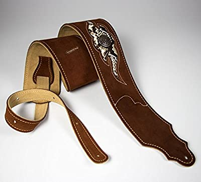 Rust Brown Suede Snakeskin Guitar Strap