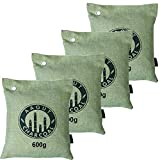 AAGUT Green Charcoal Bags, Activated Bamboo Charcoal, Air Purifying Bag 4x600g for Home,Car, Closet