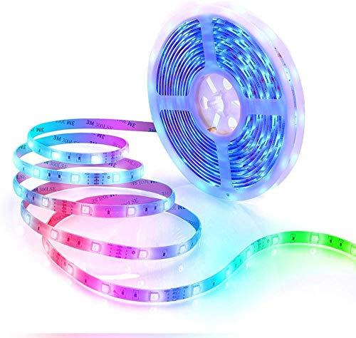JSBVM 5M Tiras LED Tiras de Luces LED Iluminación con 150 Leds 12V SMD, Impermeable IP65, Adaptador de Alimentación 3A, Control Remoto de 44 Claves, Receptor