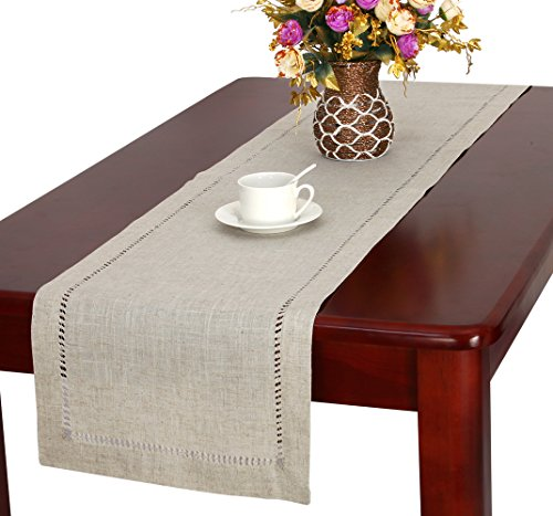 Handmade Hemstitched Natural Rectangle Lace Table Runners (14x36 inch)