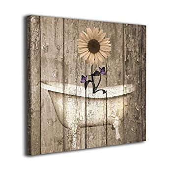 Colla Canvas Print Brown Purple Rustic Sunflower Butterflies Bathtub Vintage Wall Art Contemporary Decorative Picture Paintings Wall Decor for Bathroom Living Room Framed Ready to Hang 20x20 Inches