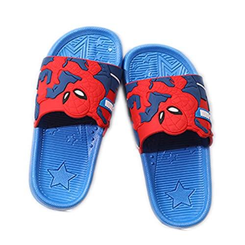 LQ-ZHUOJIAO Zapatillas De Spiderman para Niños, Zapatillas Deslizantes para Niños, Zapatos De Verano para Niños, Zapatos Transpirables Suaves De Playa para,Blue-36 Inner Length 22CM