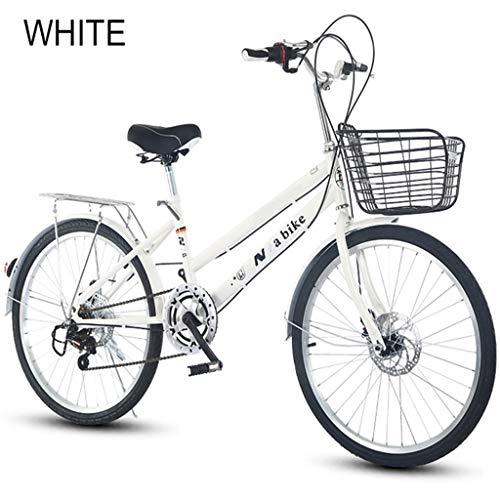 Feiteng Gangwechsel-Fahrrad für 24-Zoll-Bremse Erwachsene Studenten Geschwindigkeitsänderung bikecycle,Weiß
