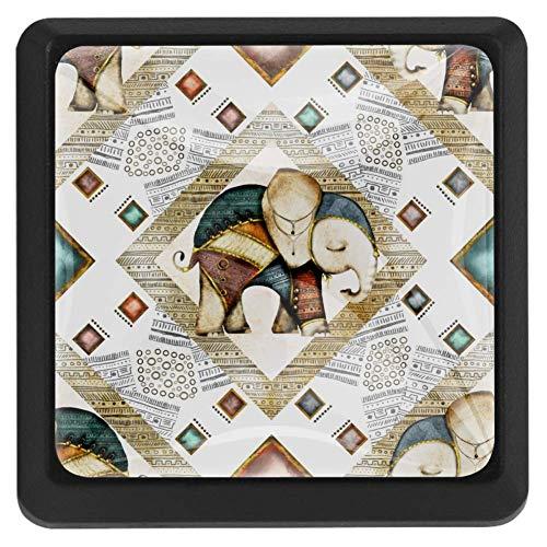 TIZORAX Schubladenknöpfe, indischer Baby-Elefant mit Tribal-Ornament, Küchenschrankgriff, quadratisch, 3 Packungen für Schrank, Kommode, Tür, Heimdekoration