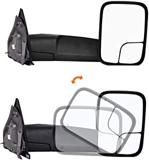 Qiilu Pair Automotive Exterior Mirrors Power Heated Rearview Towing Mirrors CH1320228 Compatible with 2002-2008 Dodge Ram 1500/2500/3500