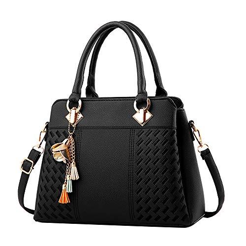Clearance Sale! ZOMUSAR Fashion Women Leather Splice Handbag Shoulder Bag Crossbody Messenger Bag Tote Bag (Black)