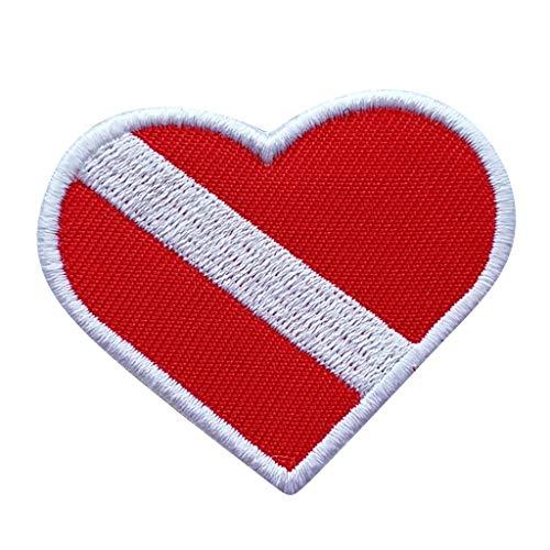 MagiDeal Patch Embleme pour Drapeau de Plongée sous-Marine/Jean/Veste Souvenir Plongeur de Plongée sous-Marine - Rouge Blanc, comme Décrit
