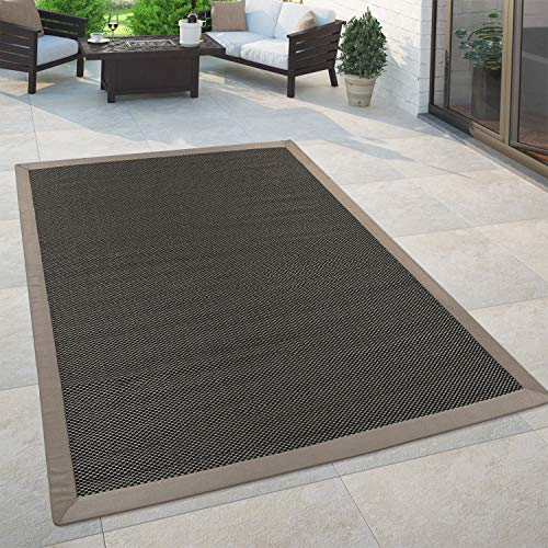 Paco Home In- & Outdoor Teppich Balkon Küchenteppich Sisal Optik Einfarbig Anthrazit Braun, Grösse:200x280 cm
