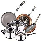 Bateria de cocina 5 piezas San Ignacio de acero inoxidable con juego de sartenes Optimum Plus (18,22,26 cm) en aluminio...
